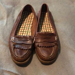 Leather sperry slip on loafers